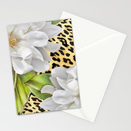 Magnolias on a Leopard Skin Pattern Stationery Cards