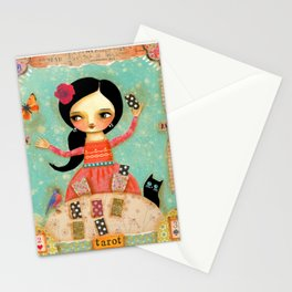 Tarot Card Reader mixed media painting by TASCHA Stationery Cards