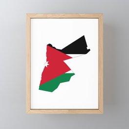 Flag Map of Jordan  Framed Mini Art Print