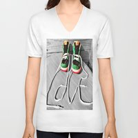 sneaker V-neck T-shirts featuring Sneaker Love by SefoG