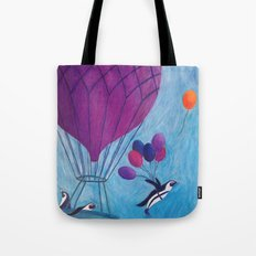 Airborne Penguins Tote Bag