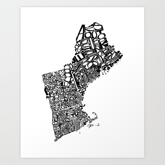 Typographic New England Art Print