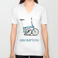 brompton V-neck T-shirts featuring Brompton Bike by Wyatt Design