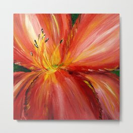 Pink with Yellow Center Daylily Metal Print