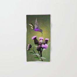 Violet Sabrewing Hummingbird and Thistle Hand & Bath Towel