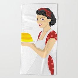 Beautiful woman with cake Beach Towel