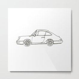 One-line Sportscar Metal Print