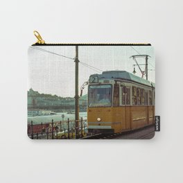 Retro Tram 2 in Budapest. Yellow tram photography. Carry-All Pouch