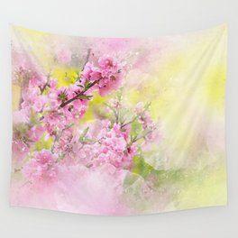 Flowers-pink, purple and yellow Wall Tapestry