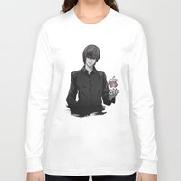 death note Long Sleeve T-shirts featuring Light Yagami Kira Death Note apple by Cursed Rose