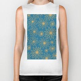 Floral  Pattern - Teal, Blue, Cooper Brown Biker Tank