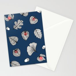 Blue Physalis and skeleton leaves Stationery Cards