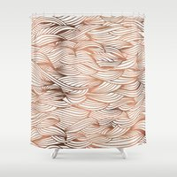 rose gold Shower Curtains featuring Rose Gold Waves by Cat Coquillette