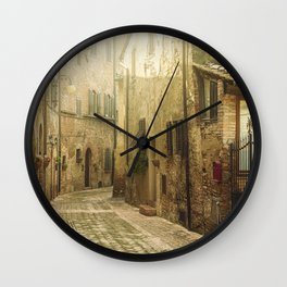 Vintage street in an old town in Italy Wall Clock