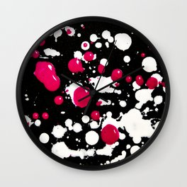 Neon Paint Splats and Spots on Black Wall Clock