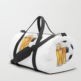 Two Glasses of beer and soccer ball Duffle Bag