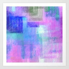 Abstract pastel pink lavender navy blue watercolor brushstrokes Art Print