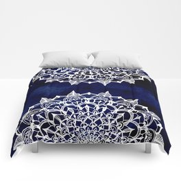 White Lace Medallion on Ink Blue Comforters