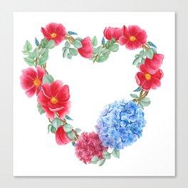 Floral wreath in heart shape Canvas Print