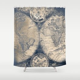 Antique World Map White Gold Navy Blue by Nature Magick Shower Curtain