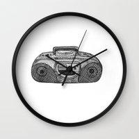 radio Wall Clocks featuring Radio by Rachel Zaagman