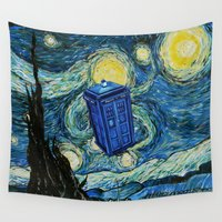 dr who Wall Tapestries featuring Tardis Dr. Who Starry Night by neutrone