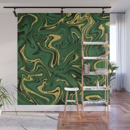 Luxury Marble Pattern in Emerald, Gold, Green and Copper Wall Mural