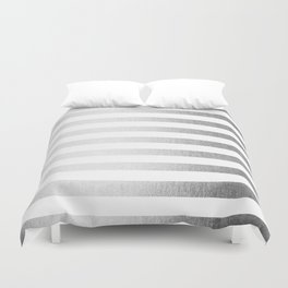 Simply Striped Moonlight Silver Duvet Cover