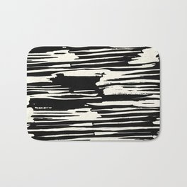 Modern Tribal Stripe Ivory and Black Bath Mat