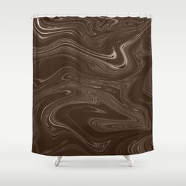 Hickory Liquid Marble Shower Curtain