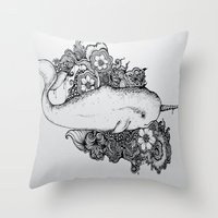 narwhal Throw Pillows featuring Narwhal by Isabel Peace