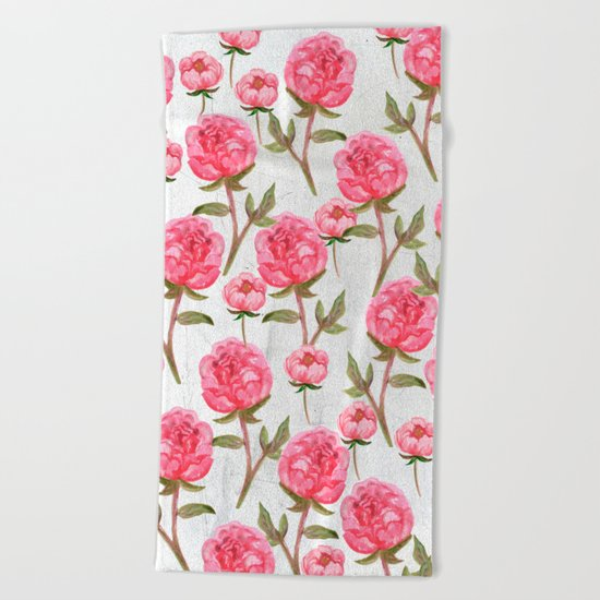 Pink Peonies On White Chalkboard Beach Towel