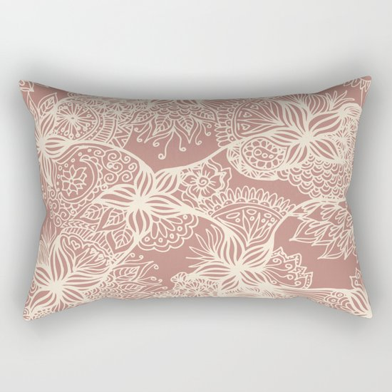 rose gold floral zentangle doodle art decorative pillow