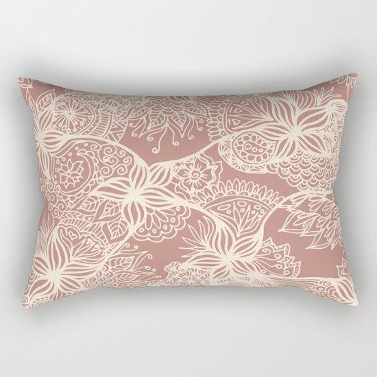rose gold floral zentangle doodle art decorative pillow