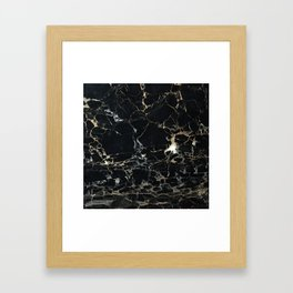 Marble Gold, Black and Silver Framed Art Print