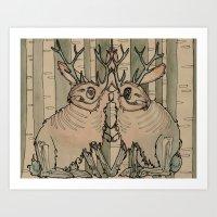 jackalope Art Prints featuring JACKALOPE by Lena Hirsch