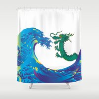 hokusai Shower Curtains featuring Hokusai Rainbow & Dragon by FACTORIE