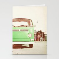 volkswagon Stationery Cards featuring Vintage Volkswagen Bus (Green Edition) by Laura Ruth