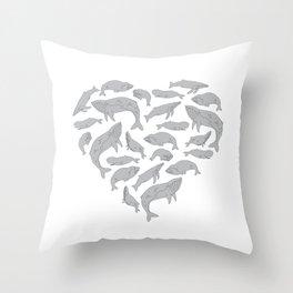 Whales - Heart Throw Pillow