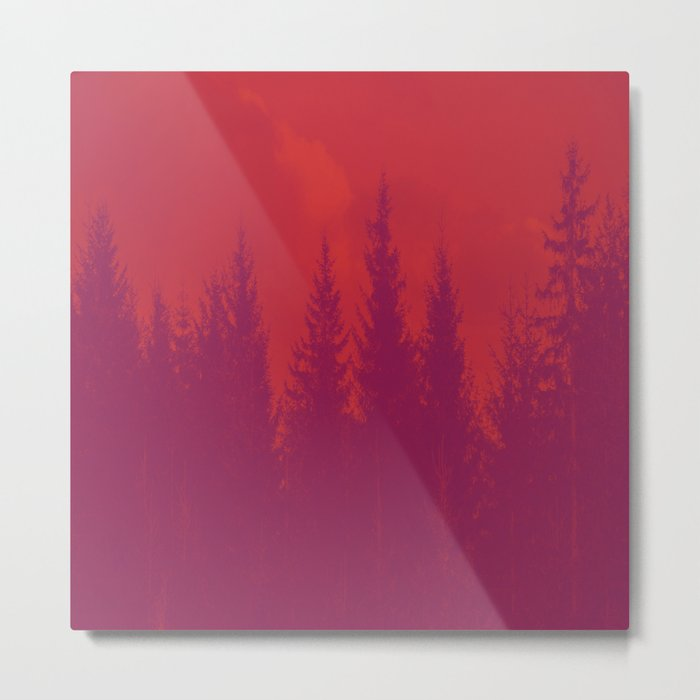 Purple Forest On Red Background #decor #society6 Metal Print