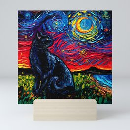 Black Cat Night 2 Mini Art Print