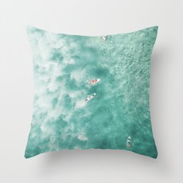 Surfing in the Ocean Throw Pillow