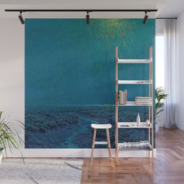 Coast of Tuscany, Italy under a Blue Moon landscape painting by Granville Redmond Wall Mural