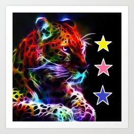Colourful Lion Stars Art Print