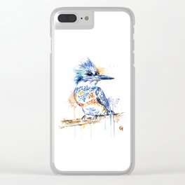 Kingfisher Colorful Watercolor Bird Painting Clear iPhone Case