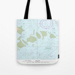 Florida Keys Nautical Chart Tote Bag
