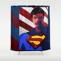 superman Shower Curtains featuring Superman by Scar Design