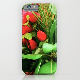 Christmas Red Berries and Pine Tree Branches iPhone Case