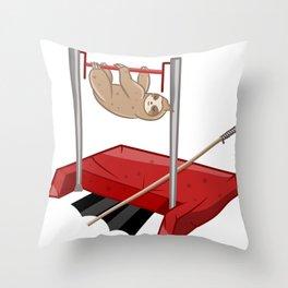 Sloth gym class Throw Pillow
