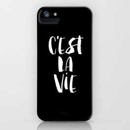 C'est La Vie black and white watercolor typography wall art home decor handwritten bedroom art inspo iPhone Case
